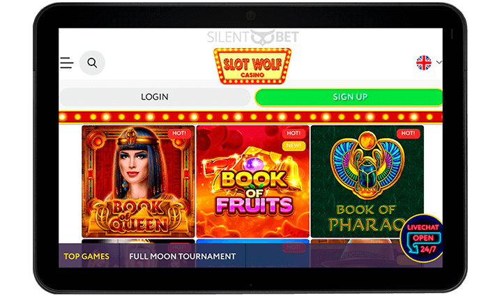 Slot Wolf mobile casino version for tablet