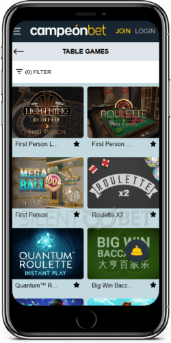 Campeonbet Casino Table Games on iOS