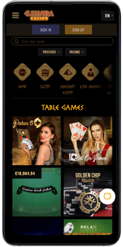 Cleopatra casino mobile table games on Android