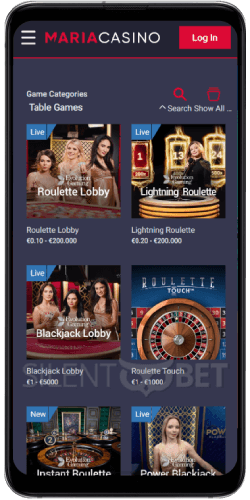 Maria Casino Table Games on Android