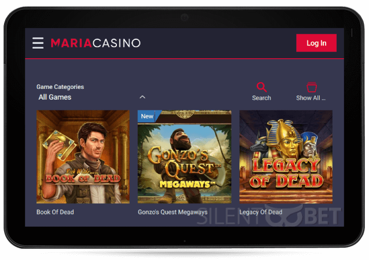 Maria Casino Mobile Version on Tablet