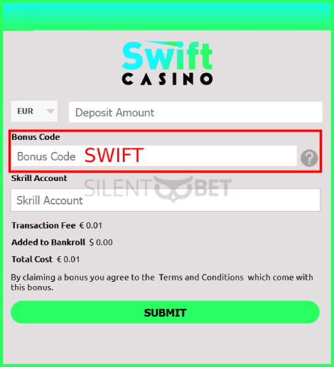 Swift Casino Bonus Code Enter