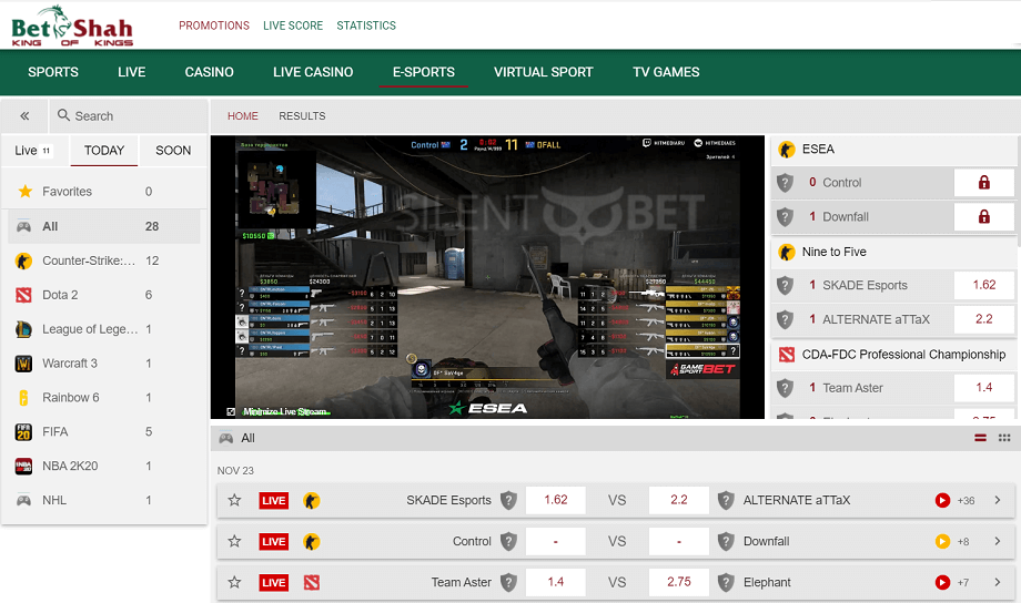 Betshah eSports section