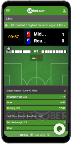 LSBet mobile In-Play section