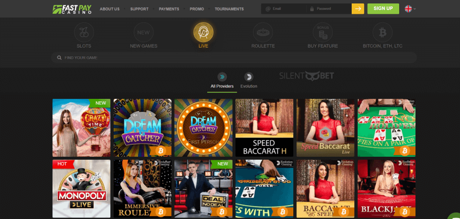 Fastpay Casino Live Games