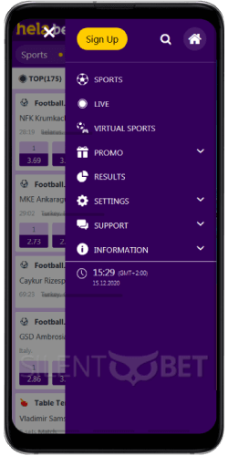 Helabet mobile menu on the Android app