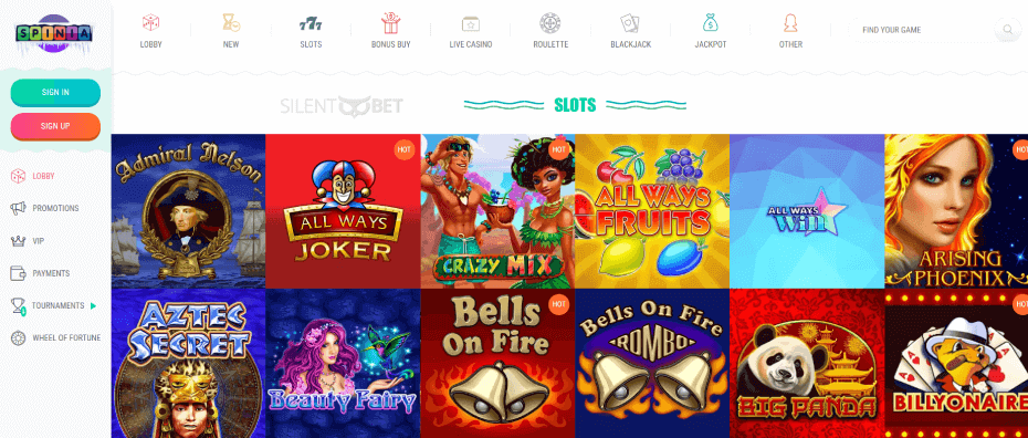 Spinia Casino Games