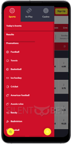 Funbet mobile menu on Android