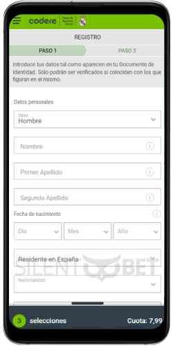 Registro móvil de Codere en Android