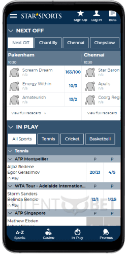 StarSports mobile sportsbook for Android