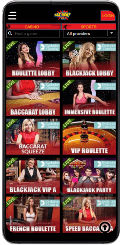 Bazingabet mobile live dealer games
