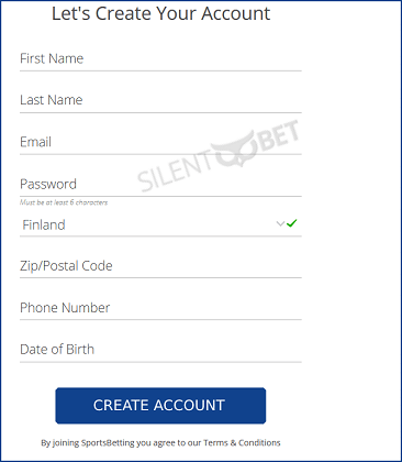 Sportsbetting signup form
