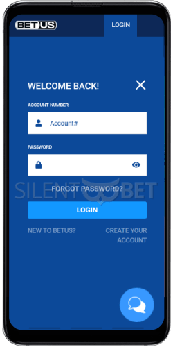 BetUS Login on Android