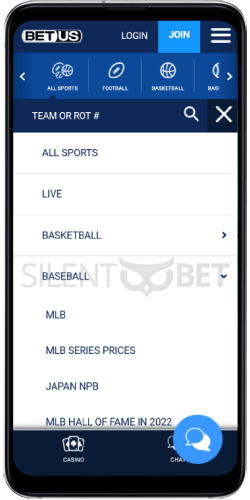 BetUS Sports on Android