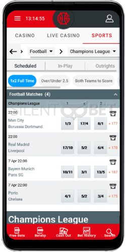 GentingBet Football on Android
