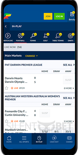 Coral mobile live betting section of Android