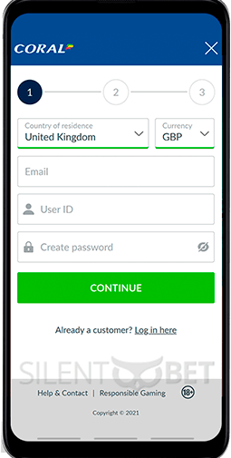 Coral mobile registration form for Android