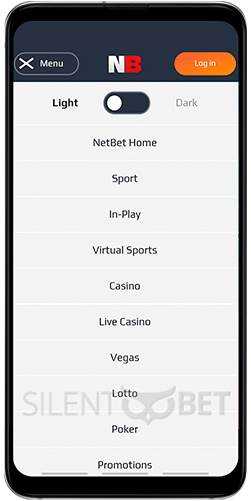 Netbet mobile menu for Android