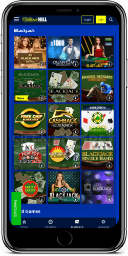 William Hill mobile blackjack for iPhone
