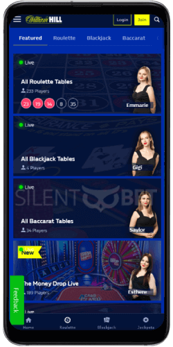 William Hill mobile live casino on Android